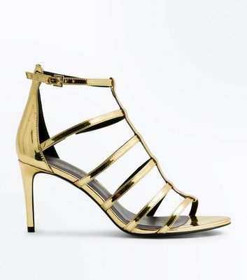 Wide Fit Gold Metallic Gladiator Heels