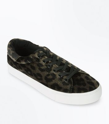 Stone Velvet Leopard Print Faux Fur Tongue Trainers
