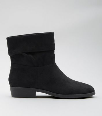 Black Suedette Fold Over Calf Ankle Boots