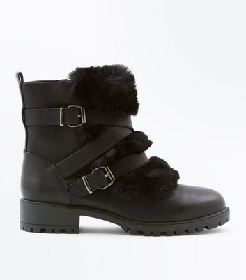 Black Faux Fur Strap Boot