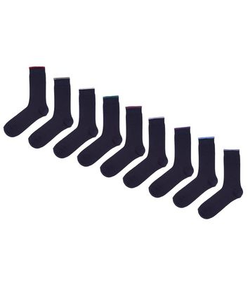 10 Pack Black Colour Tipped Socks