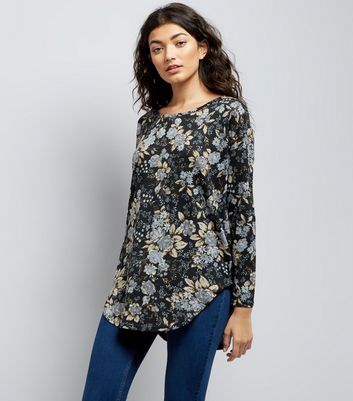 Blue Vanilla Zip Back Floral Print Top