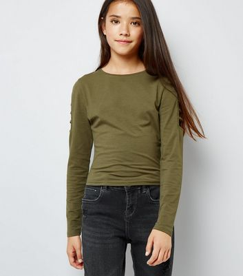 Teens Khaki Cut Out Long Sleeve Top