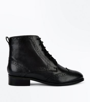 Black Leather Lace Up Brogue Boots