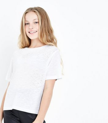Teens White Gem Embellished T-Shirt