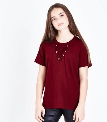 Teens Burgundy Lace Up Front Oversized T-Shirt