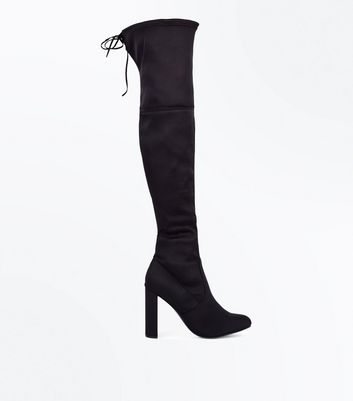 Black Suedette Tie Back Heeled Over the Knee Boots