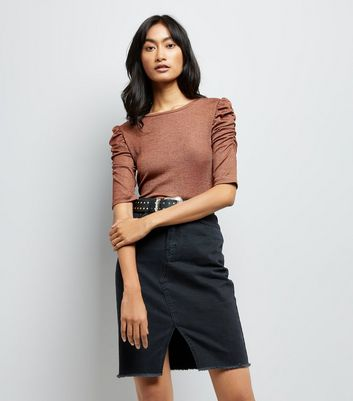 Brown Metallic Ruched Sleeve T-Shirt