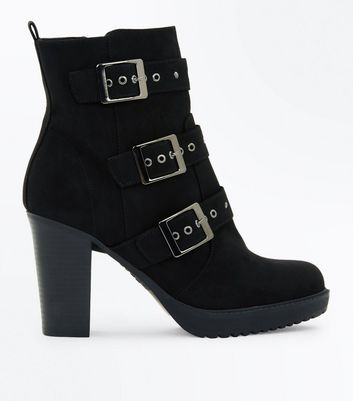 Black Suedette Stud Buckle Heeled Ankle Boots