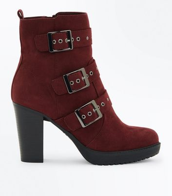 Burgundy Suedette Stud Buckle Heeled Ankle Boots
