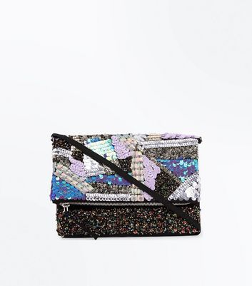 Blue Patchwork Sequin Foldover Clutch