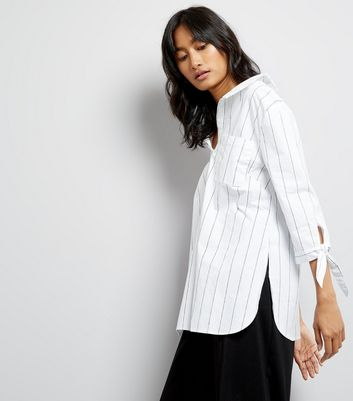 White Vertical Stripe Cross Back Shirt