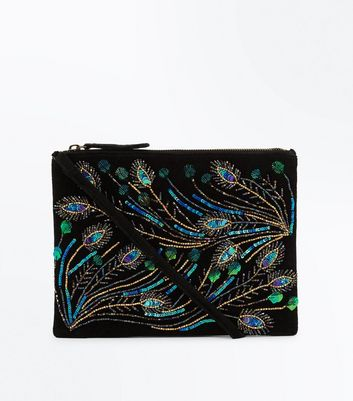 Black Embellished Peacock Feather Shoulder Bag
