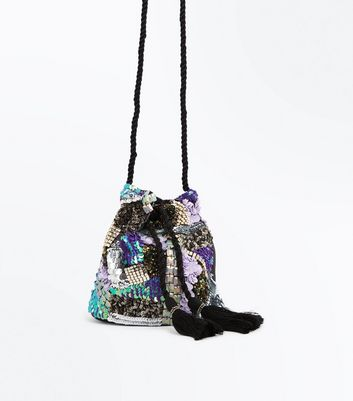 Blue Embellished Patchwork Mini Bucket Shoulder Bag