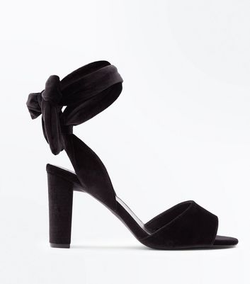 Wide Fit Black Velvet Tie Up Block Heel Sandals