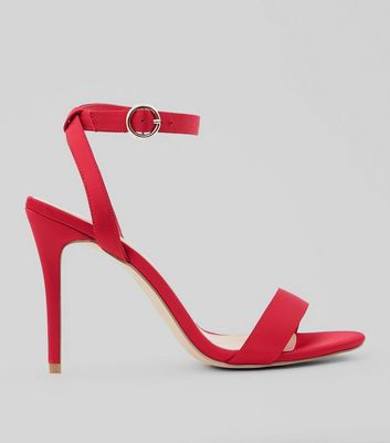 Wide Fit Red Satin Ankle Strap Heels