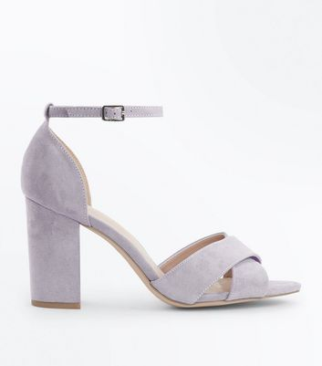 Wide Fit Grey Comfort Suedette Cross Strap Sandals