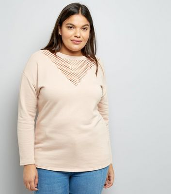 Curves Shell Pink Mesh Insert Sweater