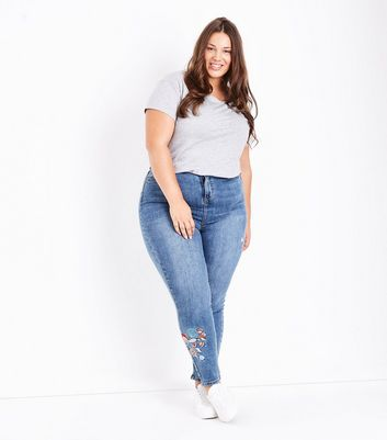 Curves Blue Embroidered Skinny Jeans