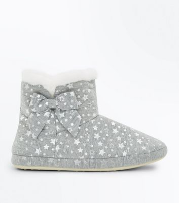 Teens Grey Star Print Slipper Boots