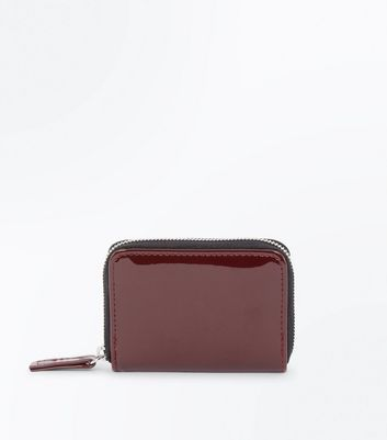 Burgundy Patent Zip Around Cardholder