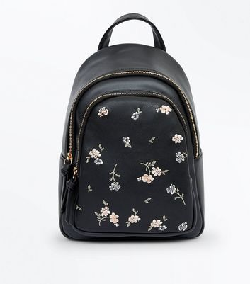 Black Floral Embroidered Mini Backpack