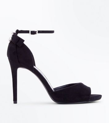 Wide Fit Black Brooch Bow Back Heeled Sandals