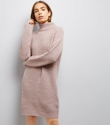JDY Pink Roll Neck Jumper Dress