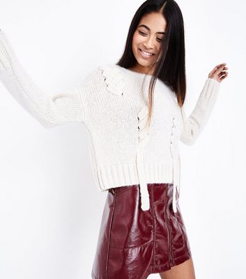 Petite Cream Lace Up Jumper