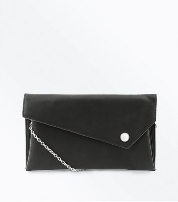 Black Asymmetric Foldover Clutch Bag