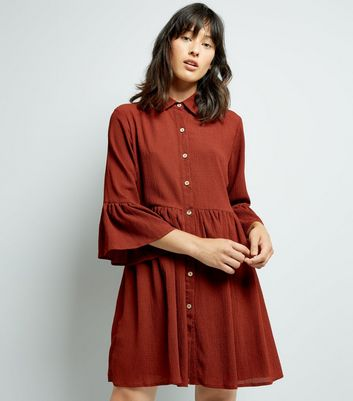 Mela Brown Bell Sleeve Shirt Dress