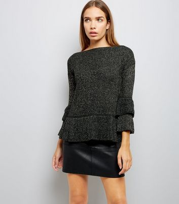 Mela Black Peplum Layered Sleeve Jumper