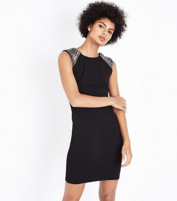 Mela Black Embellished Shoulder Bodycon Dress