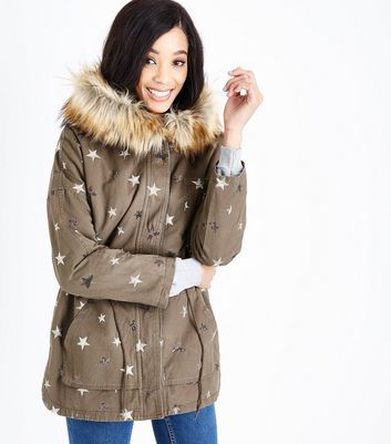 Blue Vanilla Olive Green Star Embellished Parka Jacket | New Look