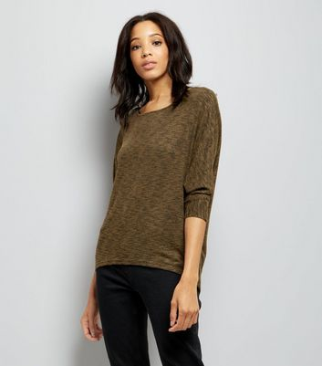 Khaki Fine Knit Batwing Sleeve Top