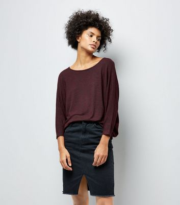 Burgundy Batwing Sleeve Fine Knit Top