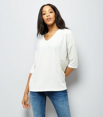Cream Textured V Neck Top