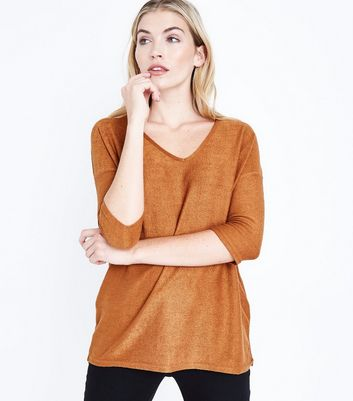 Tan Fine Knit V Neck Top