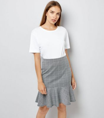 Innocence Black Check Frill Hem Skirt