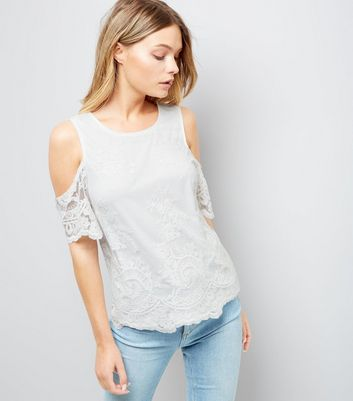 Cream Floral Embroidered Mesh Cold Shoulder Top