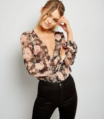 Black Rose Print Mesh Bodysuit
