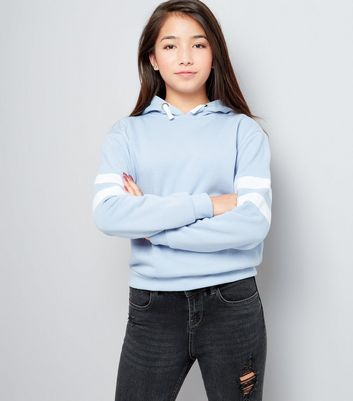 Girls Pale Blue Stripe Sleeve Hoodie