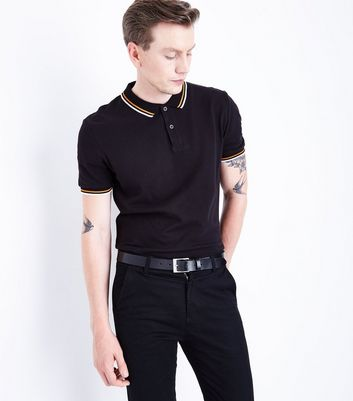 Black Contrast Trim Polo T-Shirt