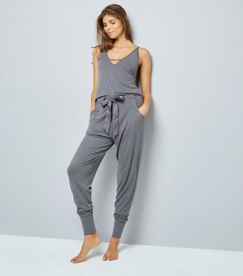 Dark Grey Satin Tie Pyjama Joggers