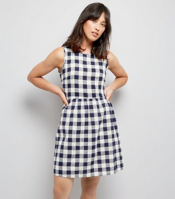 Apricot Navy Gingham Tie Waist Dress