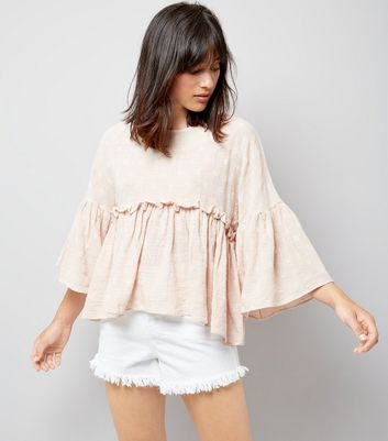 Apricot Shell Pink Daisy Embroidered Peplum Hem Top