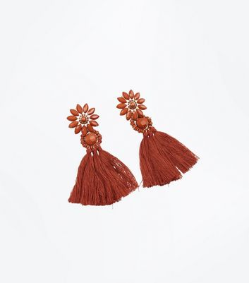 Rust Flower Tassel Drop Earrings
