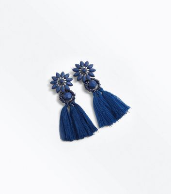 Blue Flower Tassel Drop Earrings