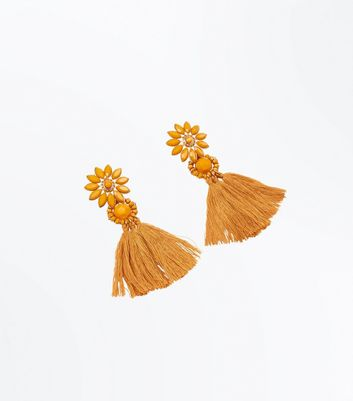 Mustard Yellow Flower Tassel Drop Earrings
