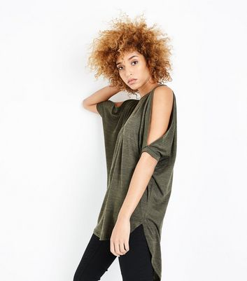 Khaki Fine Knit Lace Up Back Oversized Top